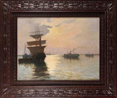 Ecole fin du XIXe - début XXe Navires dans...