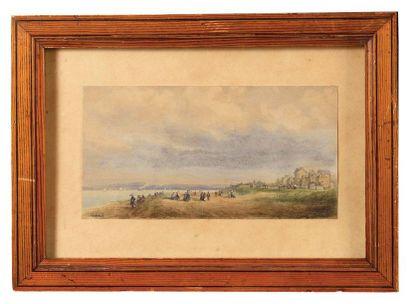 Gaspard GOBAUT (1814-1882) Plage en Normandie...
