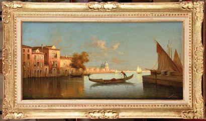 Alphonse LECOZ (XIX-XX) Vue sur la lagune,...