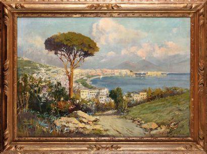 Felice GIORDANO (1880-1964) Naples vue d'en...