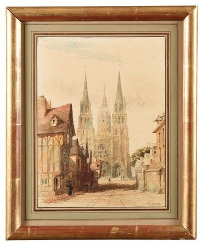 Francis Philip BARRAUD (1824-1901) La cathédrale de Bayeux Aquarelle Signé en bas...