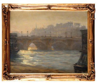René RUFF (XIX-XX) Paris, Le Pont Neuf, effet...