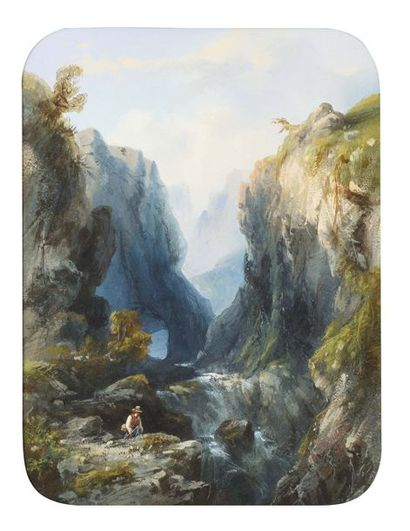 Enrico ROBECCHI (1827-1889) Torrent en montagne...