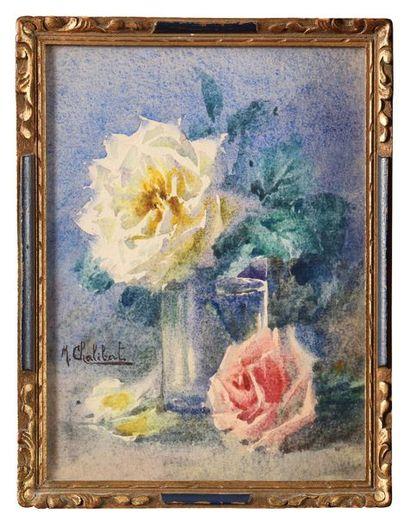 M. CHALIBERT (XX) Nature morte aux roses...