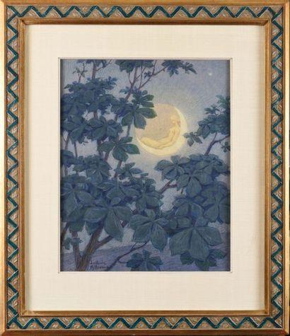 Ludovic ALLEAUME (1859-1941) Clair de lune Techniques mixtes (aquarelle, gouache,...