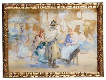 Erulo EROLI (1854-1916) Marché Gouache Signé...