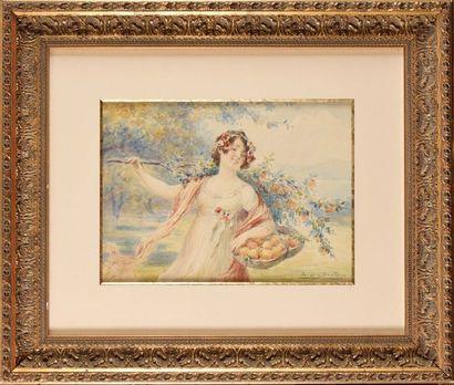 Eugène DEULLY (1860-1933) Femme au panier...