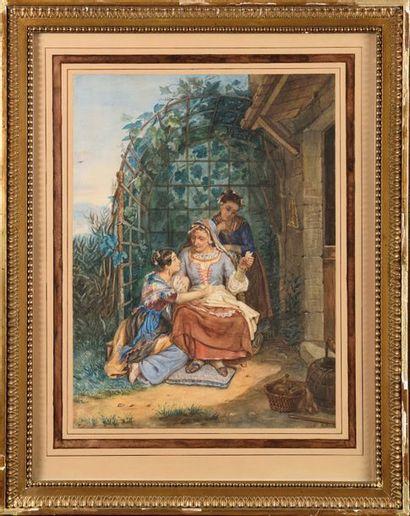 ECOLE DU XIXe siècle La diseuse de bonne...