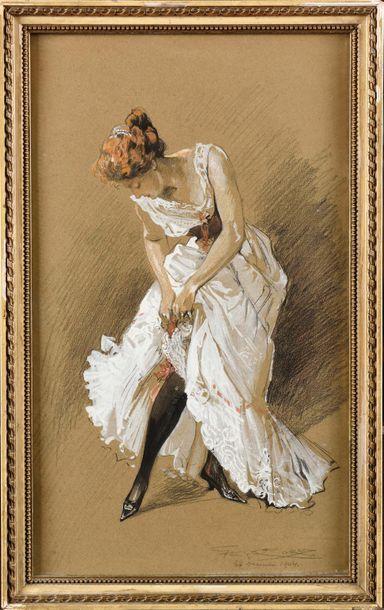 Georges CONRAD (1874-1936) Jeune femme mettant...