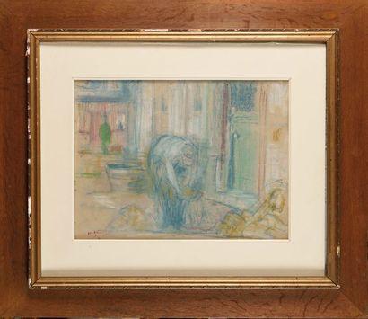 Charles ANGRAND (1854-1926) Femme à la lessive Pastel sur papier Porte le cachet...