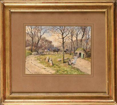 Georges GASSIES (1829-1919) Le débardage à cheval Aquarelle Signé en bas à gauche...