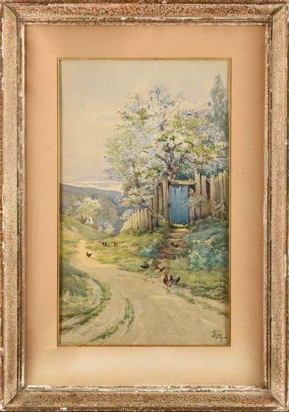 Hippolyte Jean Adam GIDE (1852-1921) Poules...
