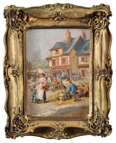 Fernand LUTSCHER (1843-1923) Le marché d'Angers,...