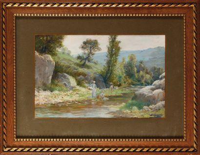 Charles MAGNIER (1883-1950) Lavandière Aquarelle...