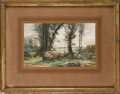 Auguste ALLONGÉ (1833-1898) Sous bois Aquarelle...