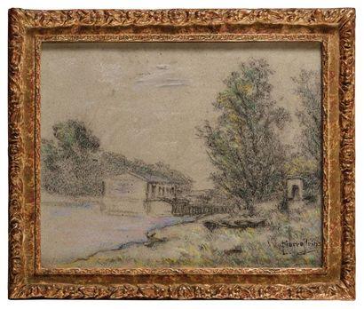 Pierre Ernest PRINS (1838-1913) Bord de rivière...