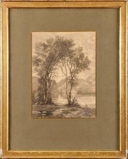 Auguste ALLONGE (1833-1898) Bord de Lac Fusain...