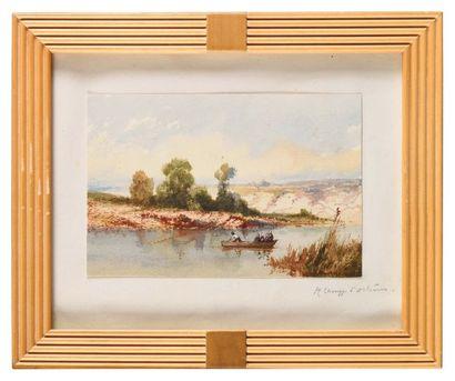 Jean-Henri CHOUPPE (1817-1894) Pêche sur...