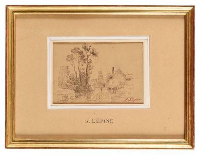 Stanislas LÉPINE (1835-1892) Paysage Encre...