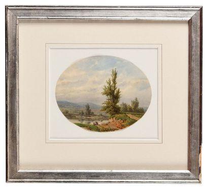 Hedwig CALMELET (1814-?) Paysage aux lavandières...