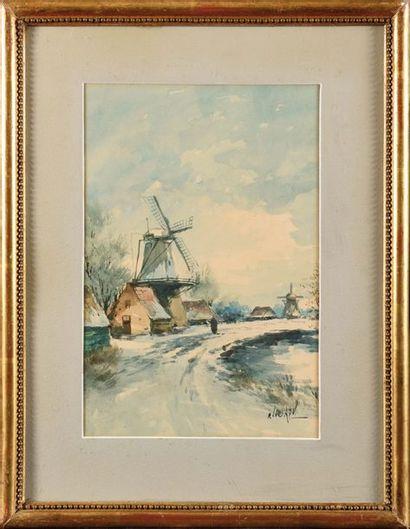 Louis APOL (1850-1936) Chemin aux moulins...