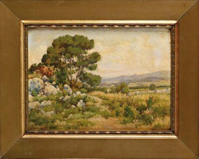 Edouard GILLOT (XIXe) Paysage du Midi Huile...