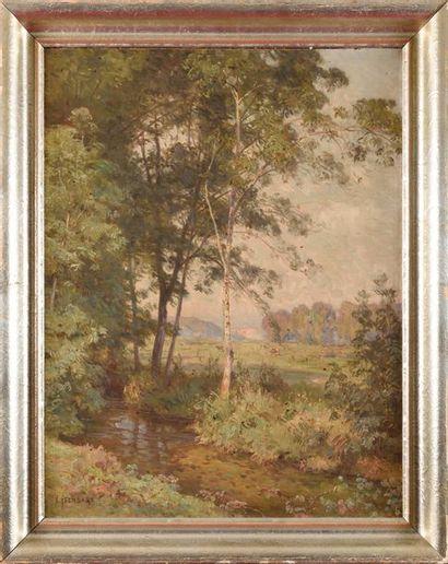 Emile ISENBART (1846-1921) Paysage à Chalezeule...