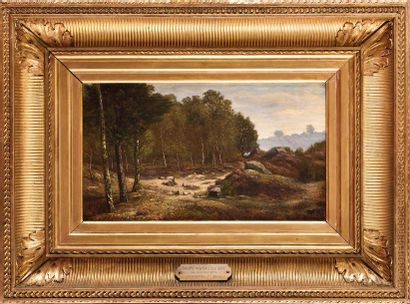 David SUTTER (1811-1880) Personnage en sous-bois,...