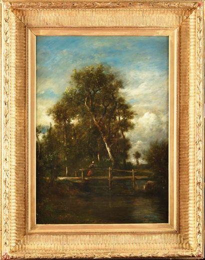 Jules DUPRE (1811-1889) Le Petit Pont Huile...