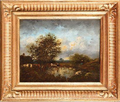 Jules DUPRE (1811-1889) Bétail et berger...