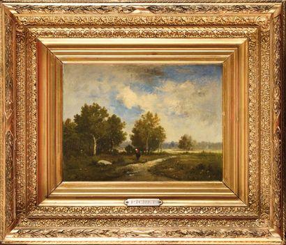 Léon RICHET (1847-1907) Paysage à la fagotière...