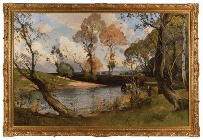 Paul LECOMTE (1842-1920) Paysage à l'étang,...