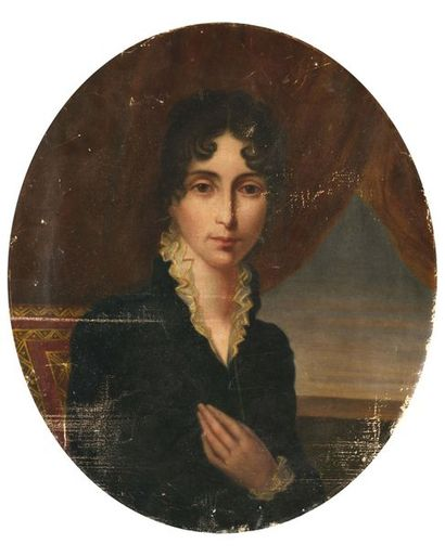 """French school of the 19th century. """"Portrait of Julie Clary, wife of Joseph Bonaparte""""...."""