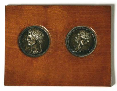 Deux médailles en argent par Brenet : a)...