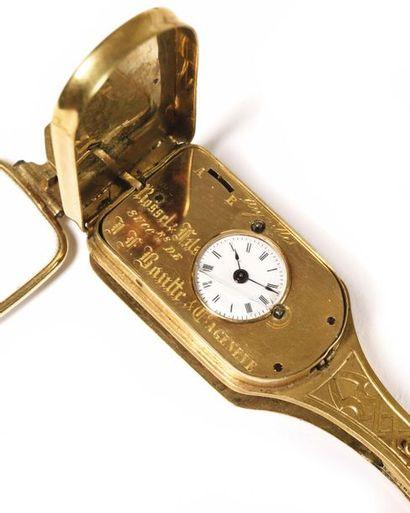 Lunette face à main à suspendre, pliante, en or, à ouverture à ressort par bouton,...