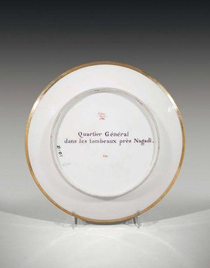 Sèvres Assiette en porcelaine du service Egyptien commandé par Joséphine de Beauharnais...