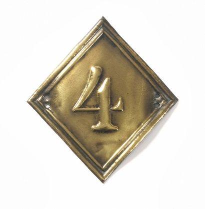 Plaque de shako du 4e régiment en laiton...