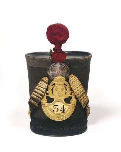 Shako d'officier du 34e régiment de ligne...