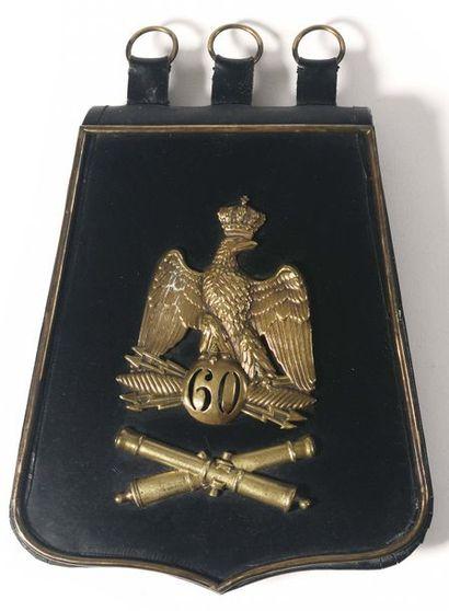 Sabretache de hussard du 9e régiment en cuir...