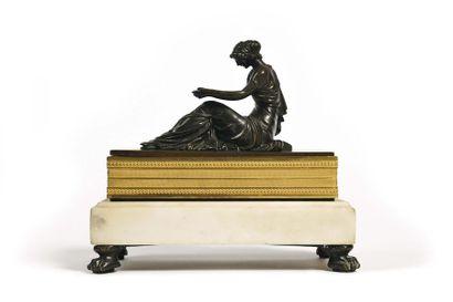 Encrier de bureau rectangulaire en bronze...