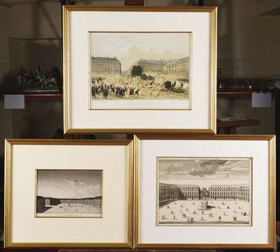 Rare ensemble de gravures sur l'historique de la place Vendôme - La place de Louis...