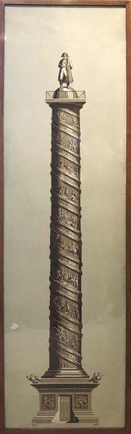 IMPORTANT PAPIER PEINT illustrant la colonne...