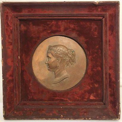 "A. Bar after ""Portrait of Princess Mathilde in profile "" Medallion in repoussé copper,..."