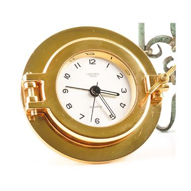 JEAGER-LECOULTRE for HERMES around 1990 A clock to be placed in gilded brass of...