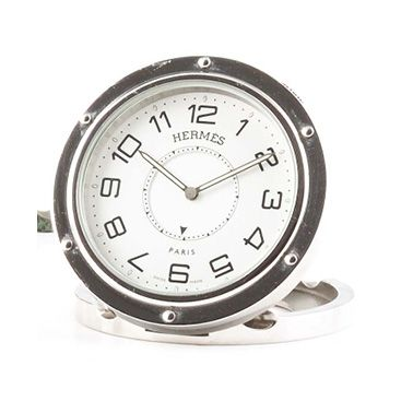 "HERMES Paris ""CLIPPER"" around 2000. Chrome metal travel alarm clock clock. White..."