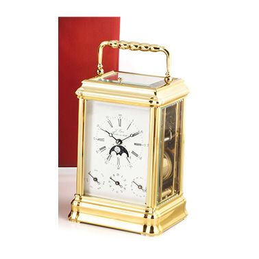 Maison L'EPEE, around 1980 Officer's or travel clock in gilded brass, with repeating...