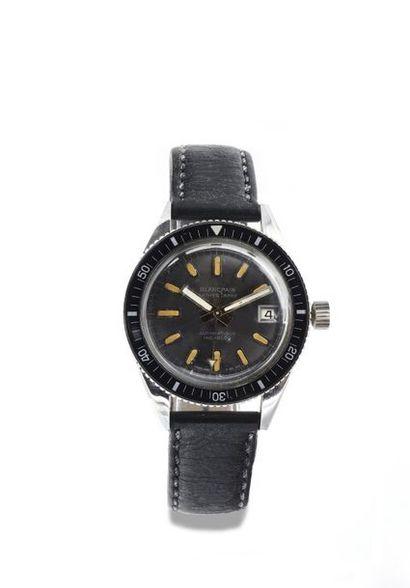 "BLANCPAIN ""Bathyscaphe"" around 1960 Rare steel diving watch. Black bakelite graduated..."