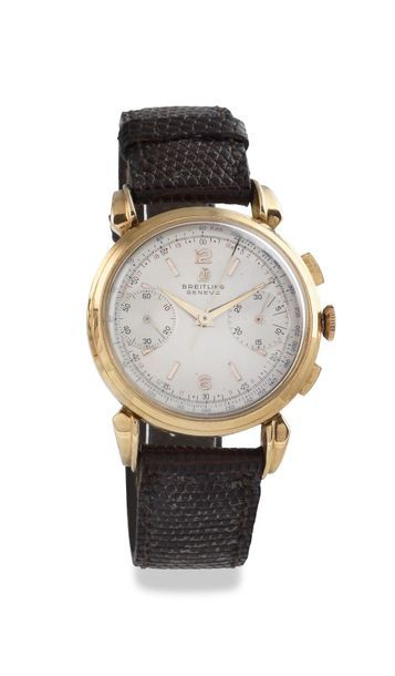 """BREITLING """"Chronograph"""" ref.1964 around 1955 Chronograph watch in 18k pink gold,..."""