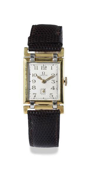 "OMEGA ""Tank"" around 1940 Elegant rectangular case in 10 micron gold-plated steel..."