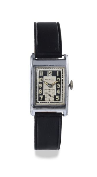 "ORSOL ""Tank"" around 1940 Rectangular steel bracelet watch, screw-down crown and..."